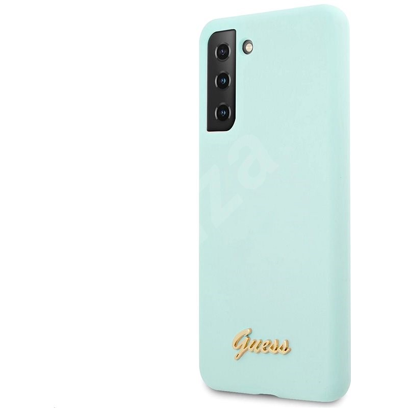 Guess Silicone Metal Logo Script Back Cover for Samsung Galaxy S21 Light Blue - Mobile Case