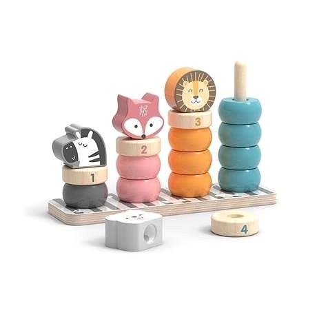 Wooden folding rings with animals - Wooden Toy