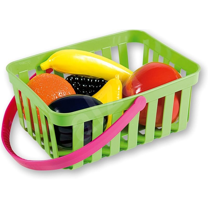 Androni Shopping Basket with Fruit - 6 pieces, Green - Set
