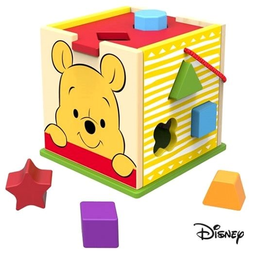 Derrson Disney Wooden Cube with Shapes Winnie the Pooh - Wooden Toy