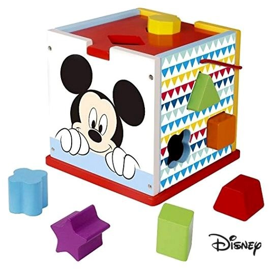 Derrson Disney Wooden Cube with Mickey Mouse Shapes - Wooden Toy