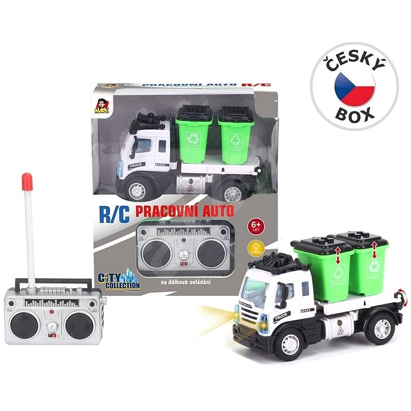 Garbage truck with containers, remote controlled, 13 x 6 x 8.5 cm - RC Model