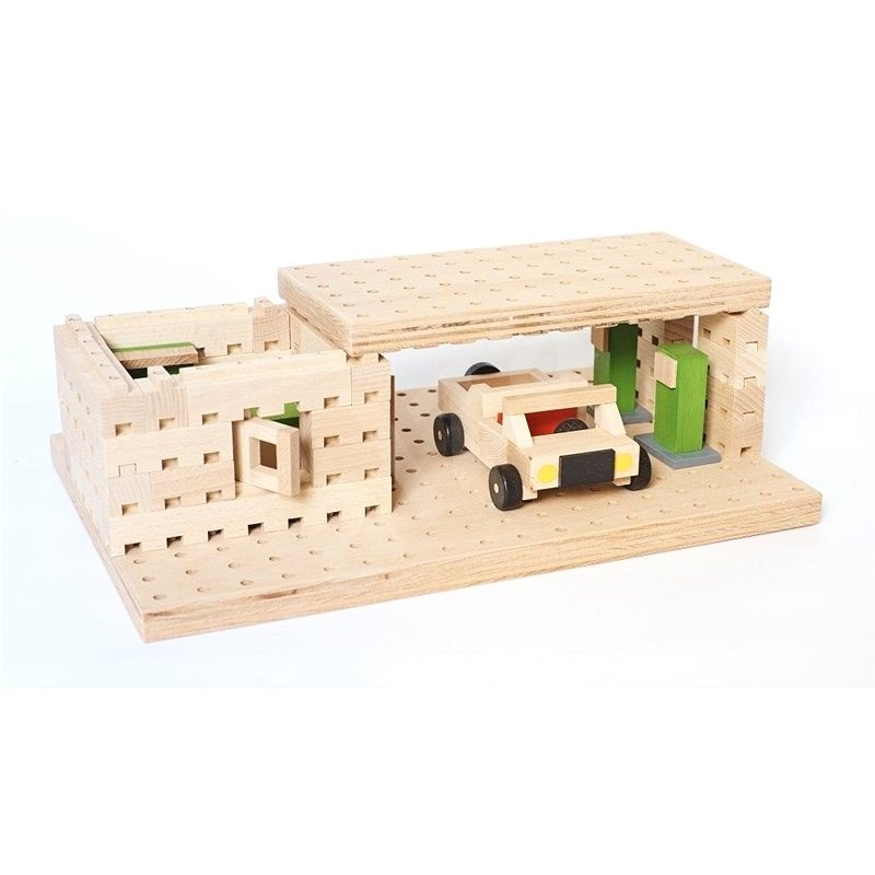 Wooden kit Buko - Petrol with a toy car of 99 parts - Wooden Building Kit