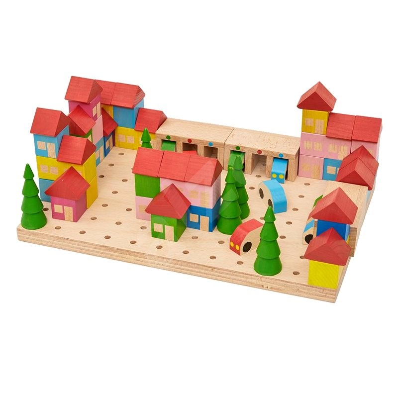 Wooden Kit Town - 67 Pieces - Wooden Building Kit