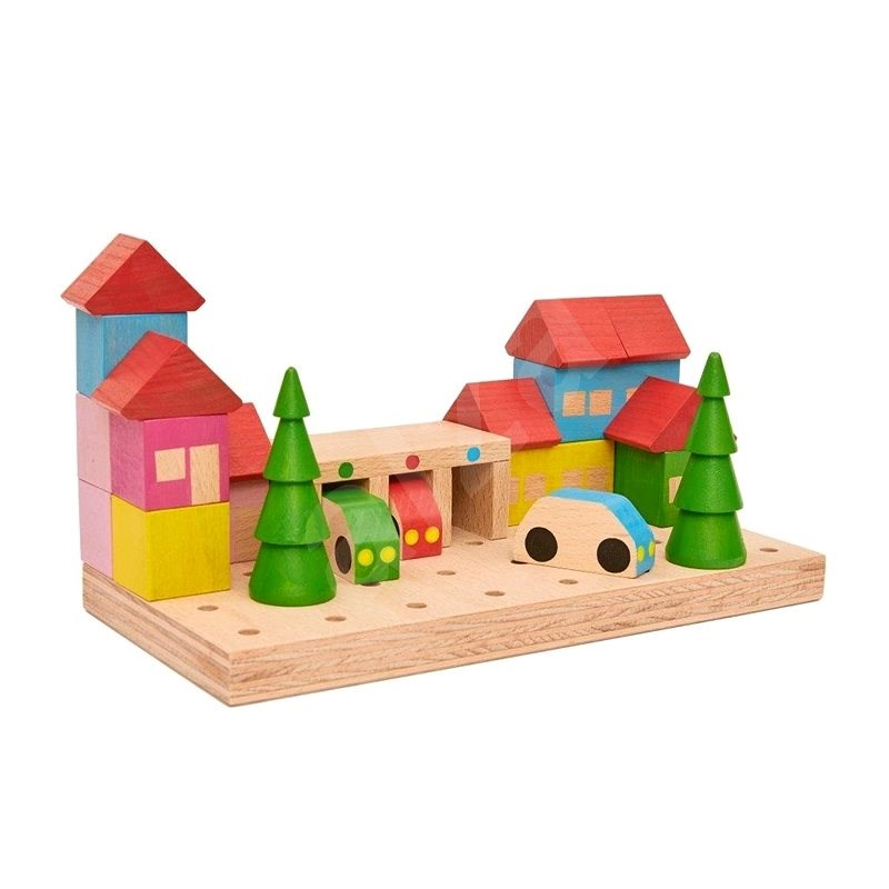 Wooden Kit The Town - 23 parts - Wooden Building Kit