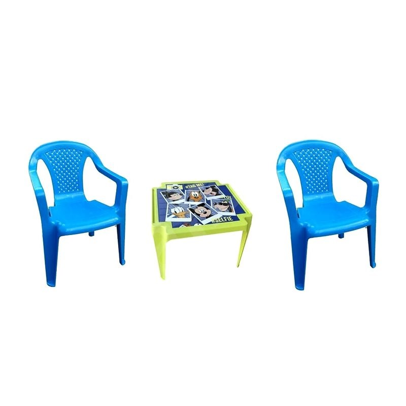 IPAE - Set of Blue 2 Chairs + MICKEY Table - Children's Furniture