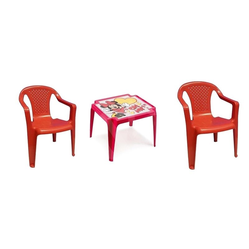 IPAE - Set 2 Red Chairs + MINNIE Table - Children's Furniture