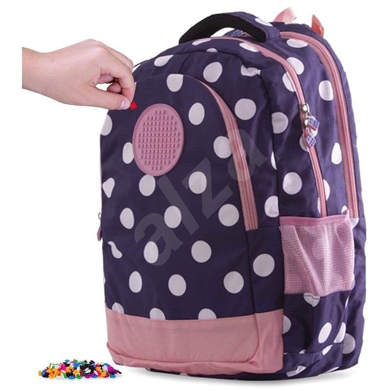 Pixie Crew student backpack blue with white dot - School Backpack