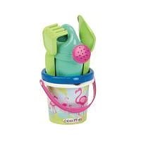 Ecoiffier Flamingo Bucket with Teapot and Accessories, 12cm - Sand Tool Kit