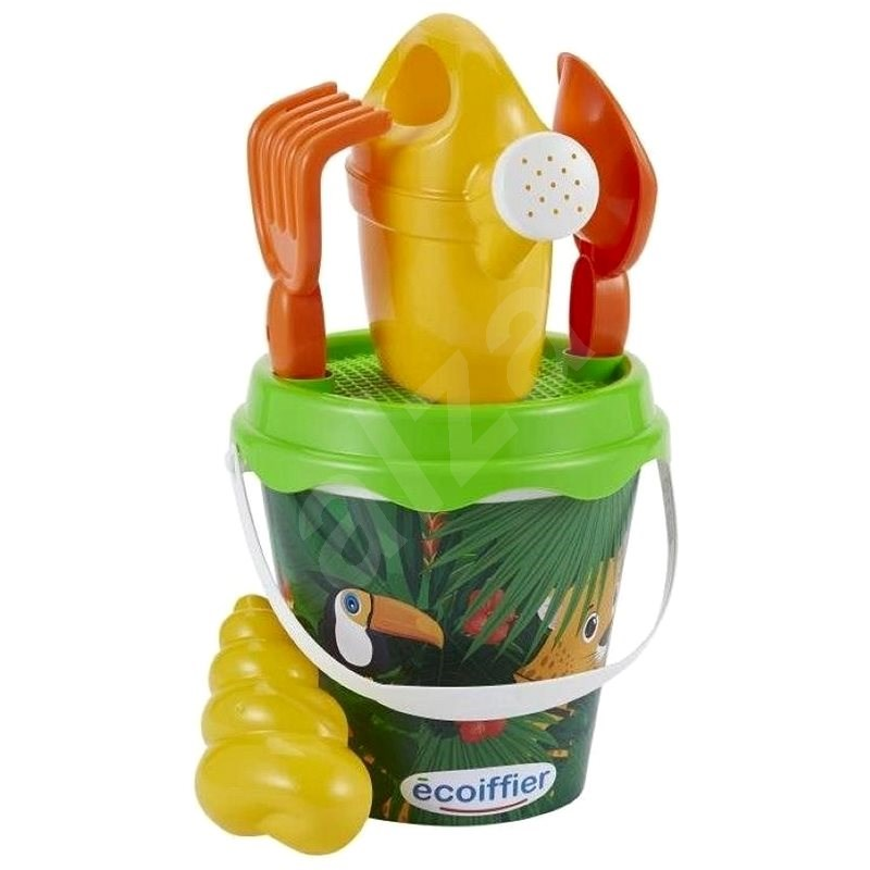 Ecoiffier Jungle Bucket with Teapot and Accessories, 17cm - Sand Tool Kit