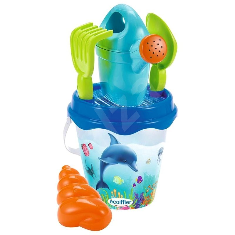 Ecoiffier Dolphin Bucket with Teapot and Accessories, 17cm - Sand Tool Kit