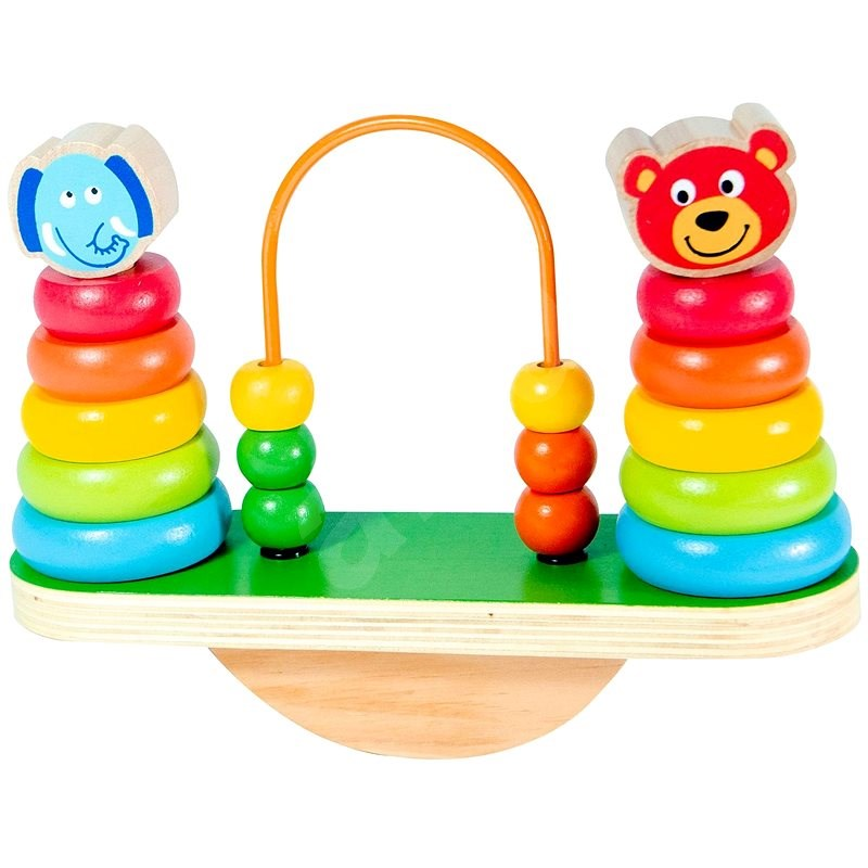 Wooden Balance Pyramid with Beads - Wooden Toy