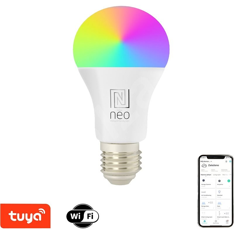 Immax NEO LITE Smart LED Bulb, E27, 9W, RGB + CCT Coloured and White, Dimmable, WiFi - LED Bulb