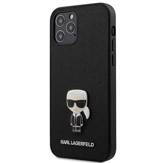 Karl Lagerfeld Saffiano Iconic for Apple iPhone 12 Pro Max, Black - Mobile Case