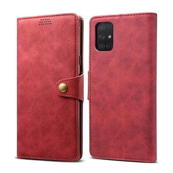 Lenuo Leather for Samsung Galaxy A71, Red - Mobile Phone Case