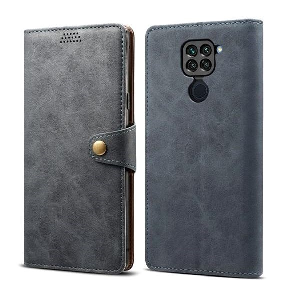 Lenuo Leather for Xiaomi Redmi Note 9, Grey - Mobile Phone Case