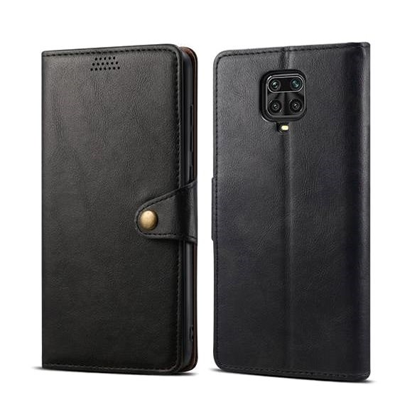 Lenuo Leather for Xiaomi Redmi Note 9 Pro/Note 9S, Black - Mobile Phone Case