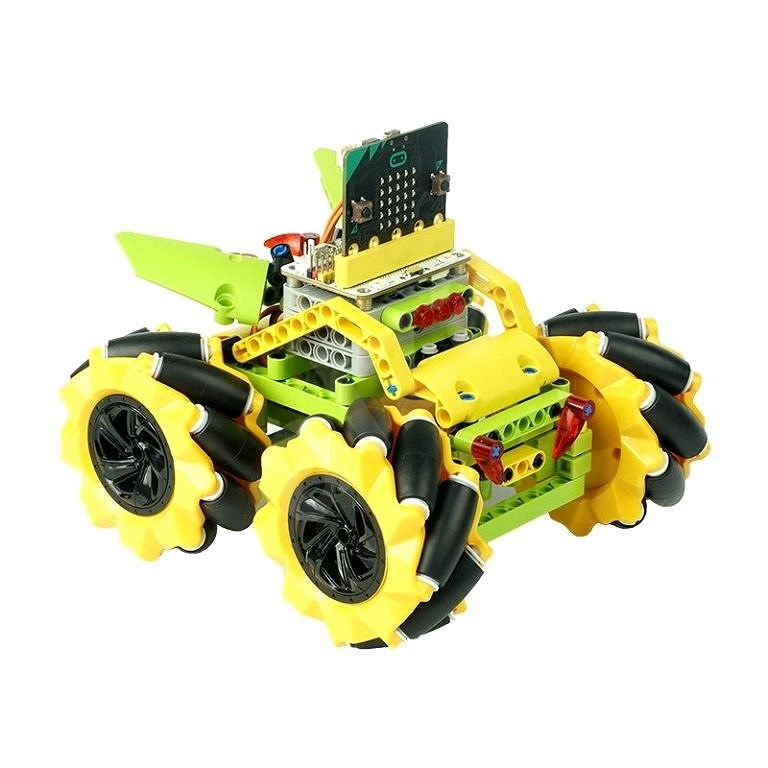 Mecanum Buggy with 360° Movement - Yellow (Without micro:bit) - Programmable Building Kit