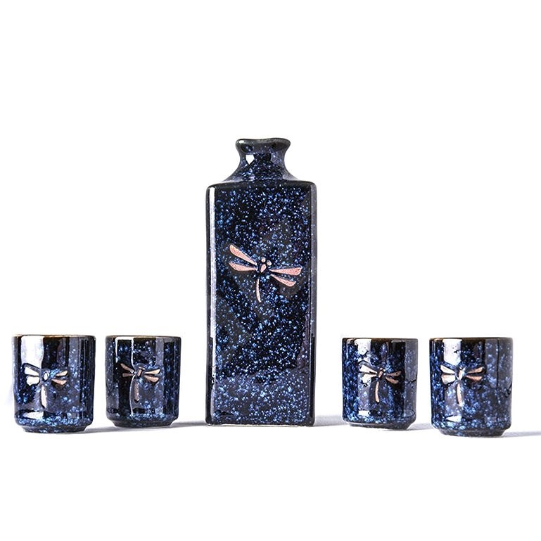 Made In Japan Sake Set with Dragonfly Motif Dragonfly Blue 5 pcs - Set of Cups