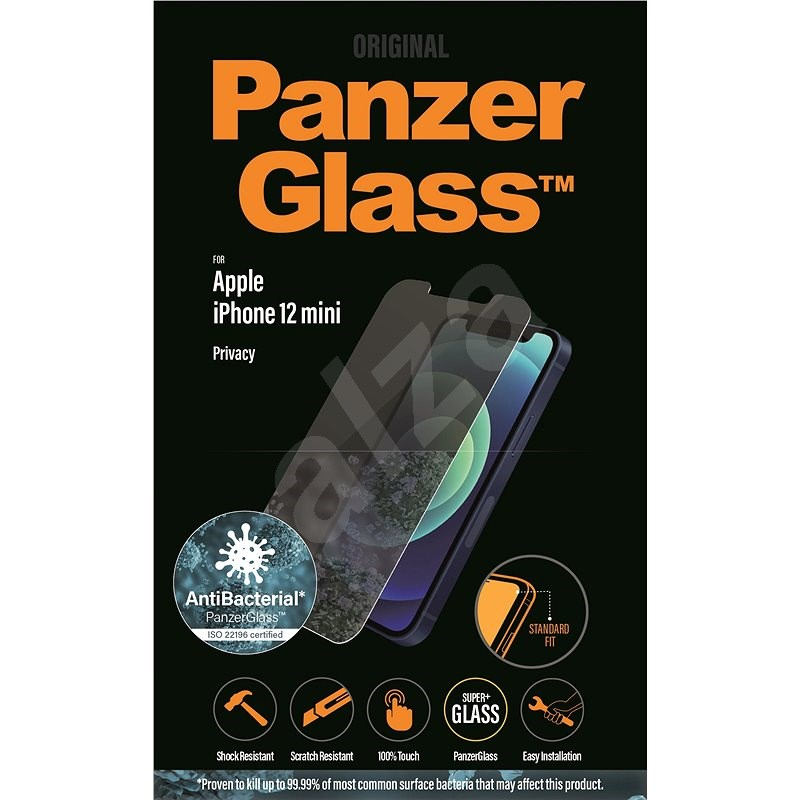 PanzerGlass Standard Privacy Antibacterial for Apple iPhone 12 mini, Clear - Glass protector