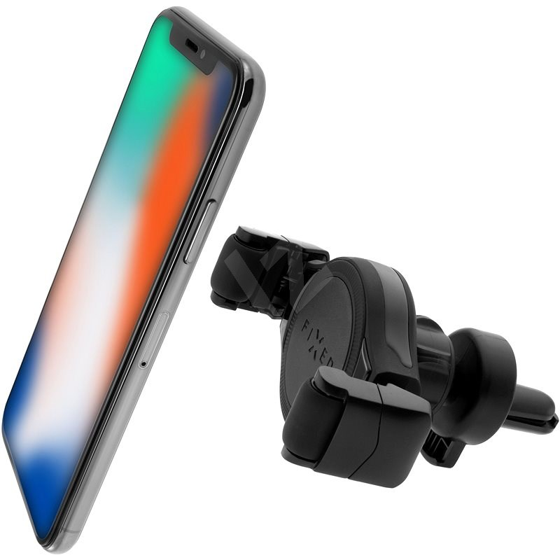 FIXED Roll Vent with Mounting in the Ventilation Grille, Black - Mobile Phone Holder