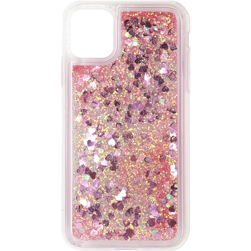 iWill Glitter Liquid Heart Case for Apple iPhone 11, Pink - Mobile Case