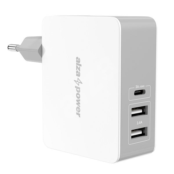 AlzaPower T3C Triple Charger 5.4A White - Charger