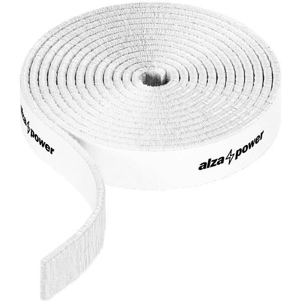 AlzaPower VelcroStrap+ Roll, 1m, White - Cable Organiser