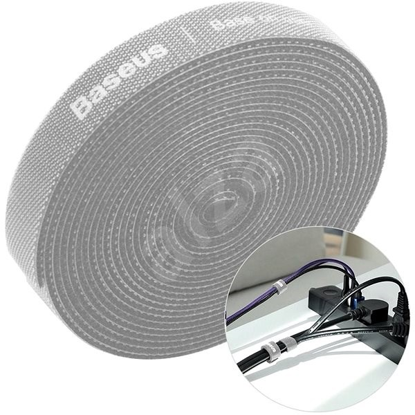 Baseus Rainbow Circle Velcro Straps 1m Grey - Cable Organiser