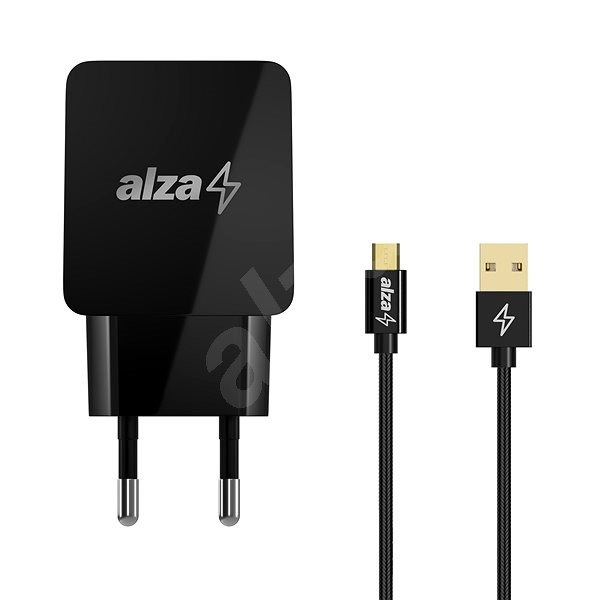 AlzaPower Q100 Quick Charge 3.0 + AlzaPower AluCore Micro USB, 1m, Black - Charger