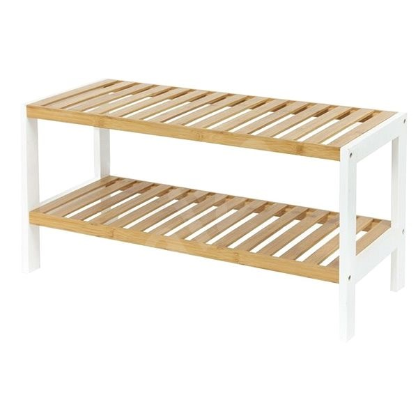 Compactor Two-tier Shoe Rack, Akira RAN8969, for 8 Pairs of Shoes, Bamboo Wood - Shoe Rack