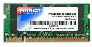 PATRIOT 2 GB SO-DIMM DDR2 800 MHz CL6 Signature Line - System Memory