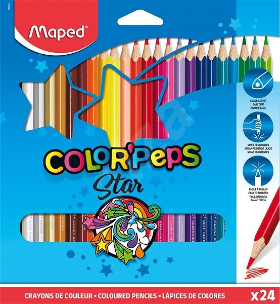 MAPED Color Peps, 24 colours, triangular - Coloured Pencils