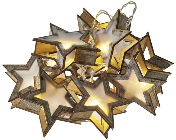 LED Christmas Garlands - 3D Stars, 2x AA, Warm White, Timer - Christmas Lights