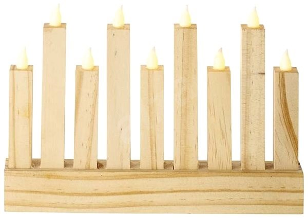 LED Natural Candlestick, 25 x 16,5cm, 3x AA, Indoor, Warm White - Christmas Lights