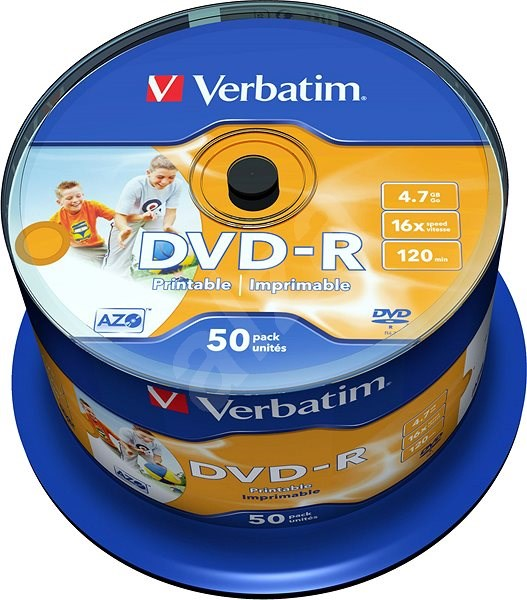Verbatim DVD-R 16x, Printable 50pcs cakebox - Media