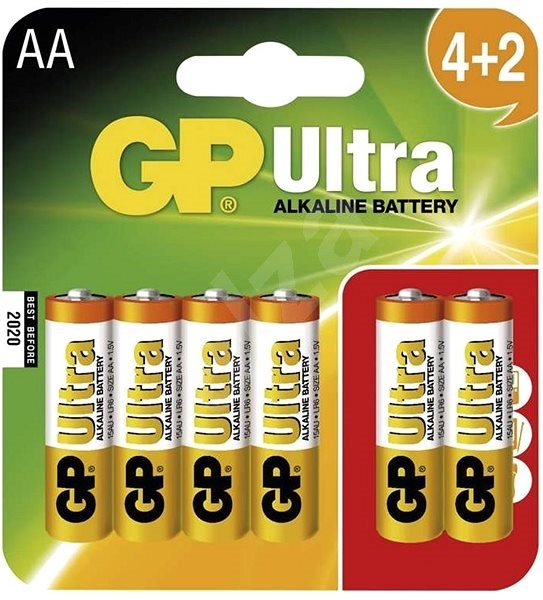 GP Ultra LR06 (AA) 4 + 2pcs in blister card - Disposable batteries