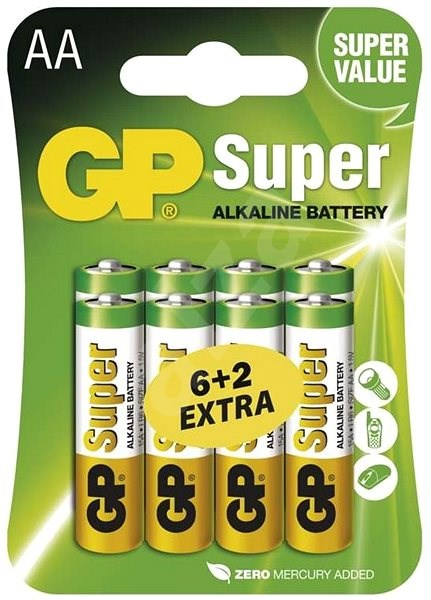 GP Super Alkaline LR6 (AA) 6 + 2pcs in blister pack - Disposable batteries