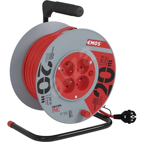 EMOS PVC Extension Cord on Reel - 4 Sockets, 20m, 1mm2 - Extension Cord