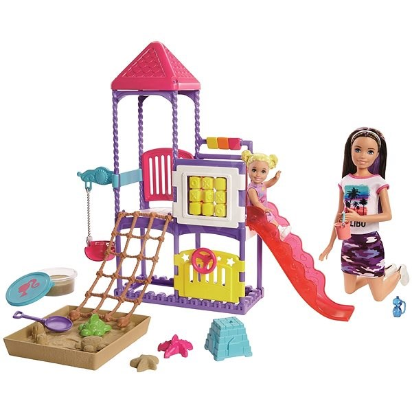 Barbie nanny on the playground game set - Doll