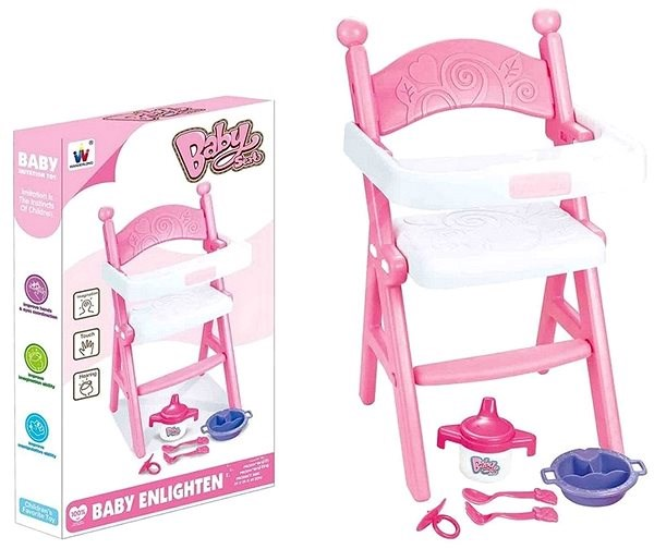 Doll's chair, pink-white, with accessories - Toy