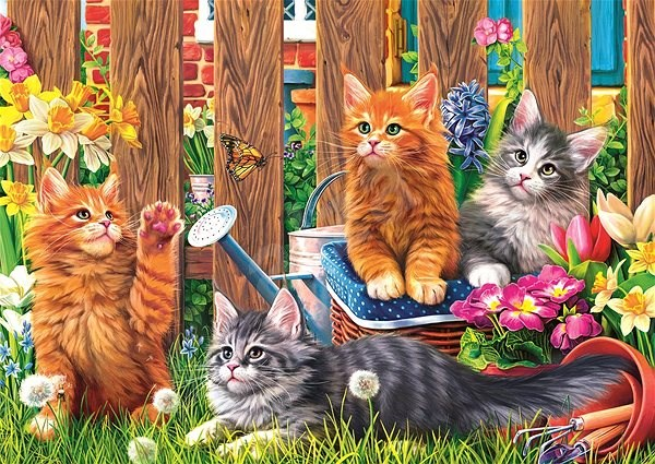 Hit the Kittens in the garden with 500 pieces - Puzzle