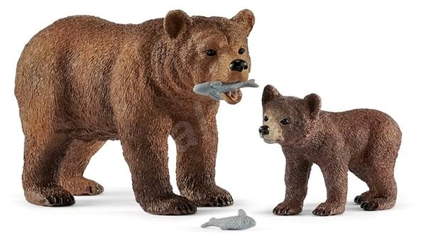 Schleich 42473 Grizzly bear mother with cub - Figure