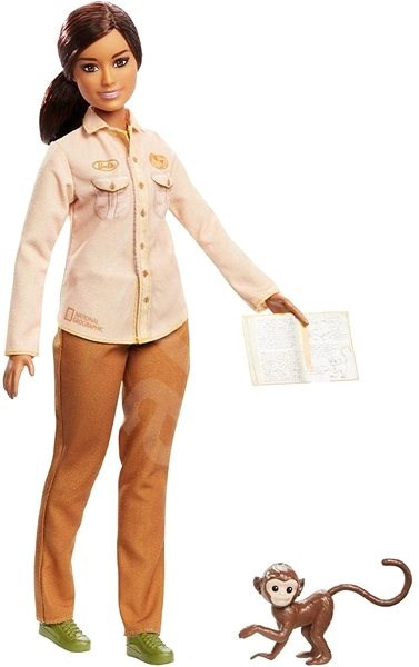 Barbie Occupations National Geographic Wildlife Conservationist (with Monkey) - Doll
