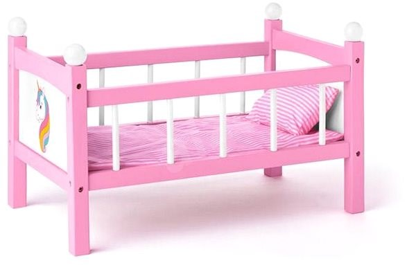 Woody Doll Cot with Blankets - Unicorn - Doll Furniture