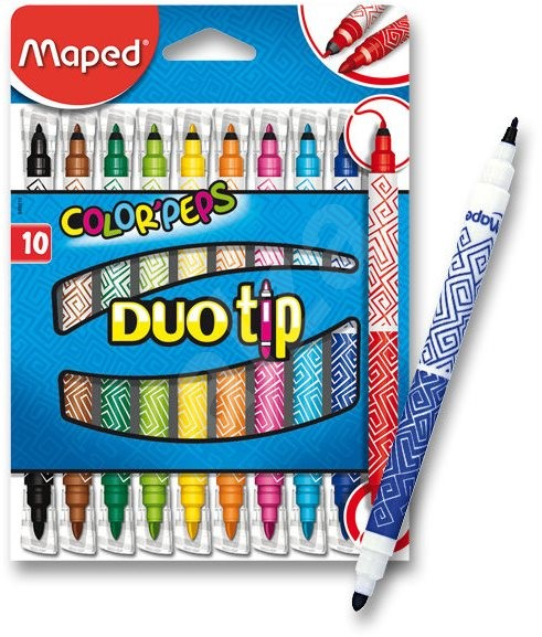 DUO TIP FELT TIPS COLOR/'PEPS 10 PACK SO 20 COLOURS