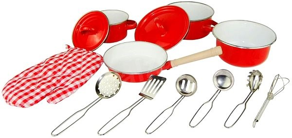 Woody Red Kitchen Pan and Utensils Set, 13 Pieces - Children's toy dishes