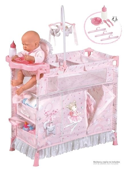 DeCuevas 53034 Folding cot for dolls with 5 functional accessories Magic Maria 2020 - Doll Furniture