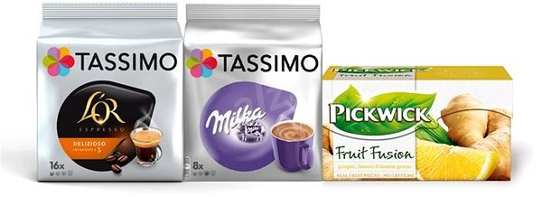 Tassimo PACK -1x  Tassimo L'or Delizioso, 1x Tassimo Milka, 1x Pickwick Ginger with Lemon and Lem - Coffee Capsules
