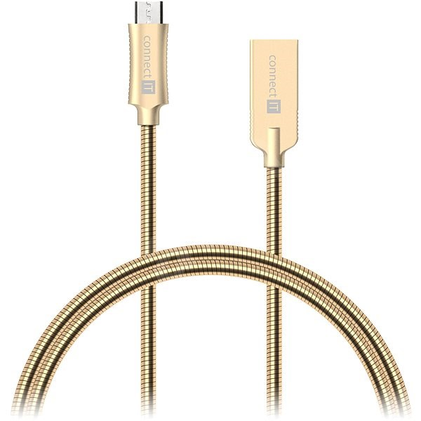 CONNECT IT Wirez Steel Knight Micro USB 1m, metallic gold - Data cable